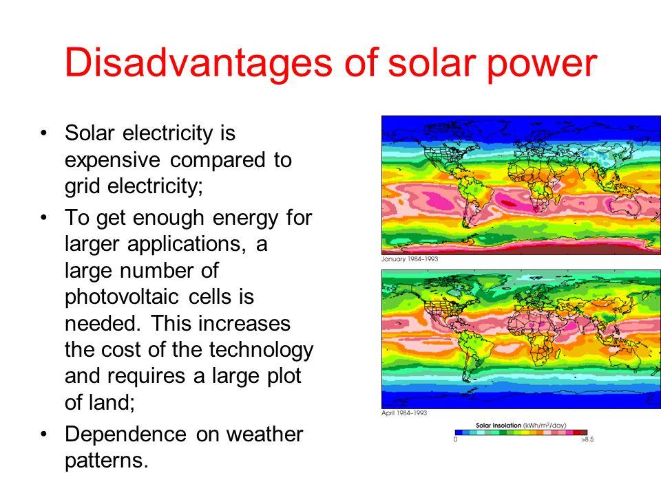 Disadvantages of solar power