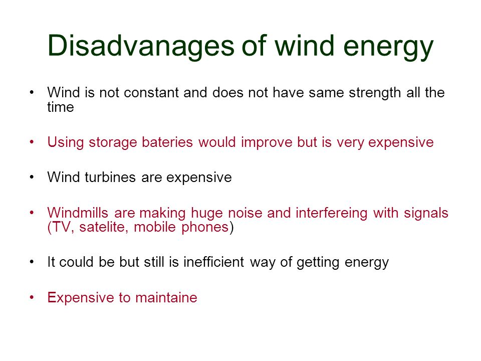 Disadvanages of wind energy