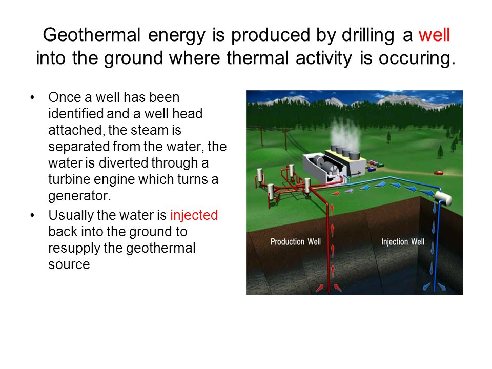 Geothermal energy is produced by drilling a well into the ground where thermal activity is occuring.