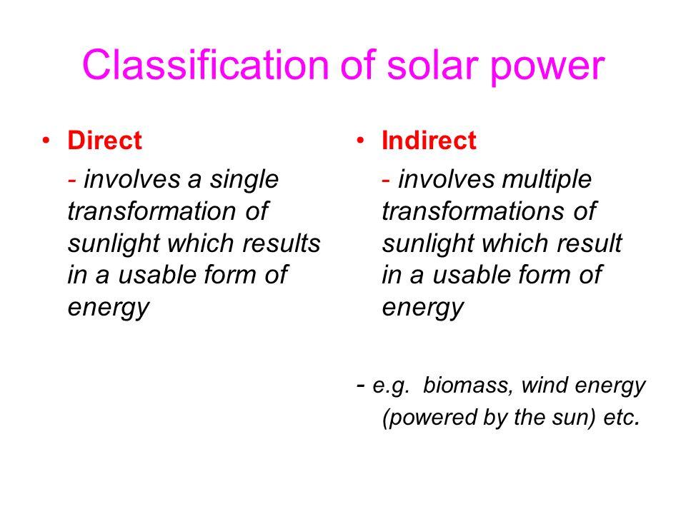 Classification of solar power