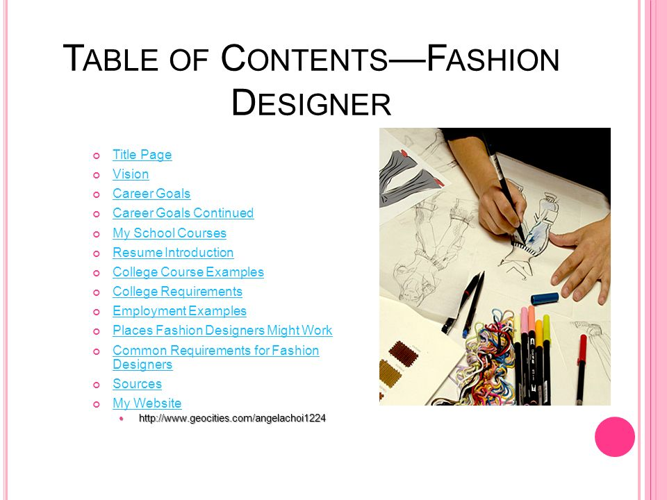 an introduction to the profession of a fashion designer Community college, working in the fashion design and merchandising program   the life cycle has four stages: (1) introduction, where the new form begins (eg , the  this mode of operation is not sufficient for the professional who must.