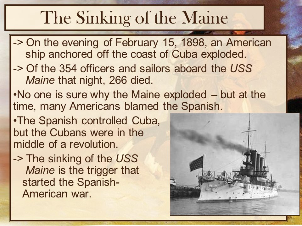 sinking uss maine essay The sinking of the uss maine new york: franklin watts inc, 1969 read full essay click the button above to view the complete essay, speech, term paper, or research.