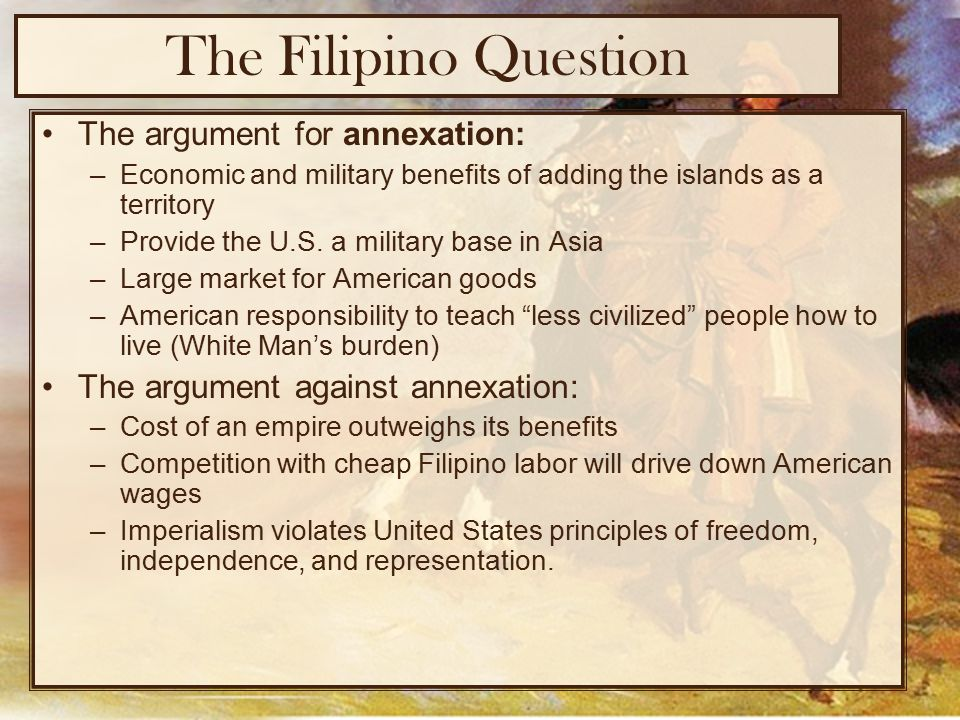 an argument against american imperialism On this chart they should list in the first column the arguments made by those for or against imperialism these arguments in the question of an american.