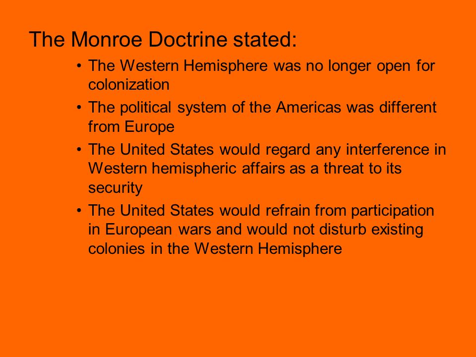 an analysis of the monroe doctrine in the united states congress Roosevelt issued his corollary to the monroe doctrine in a message to congress the us took over customs collections and debt  united states congress, december 5 .