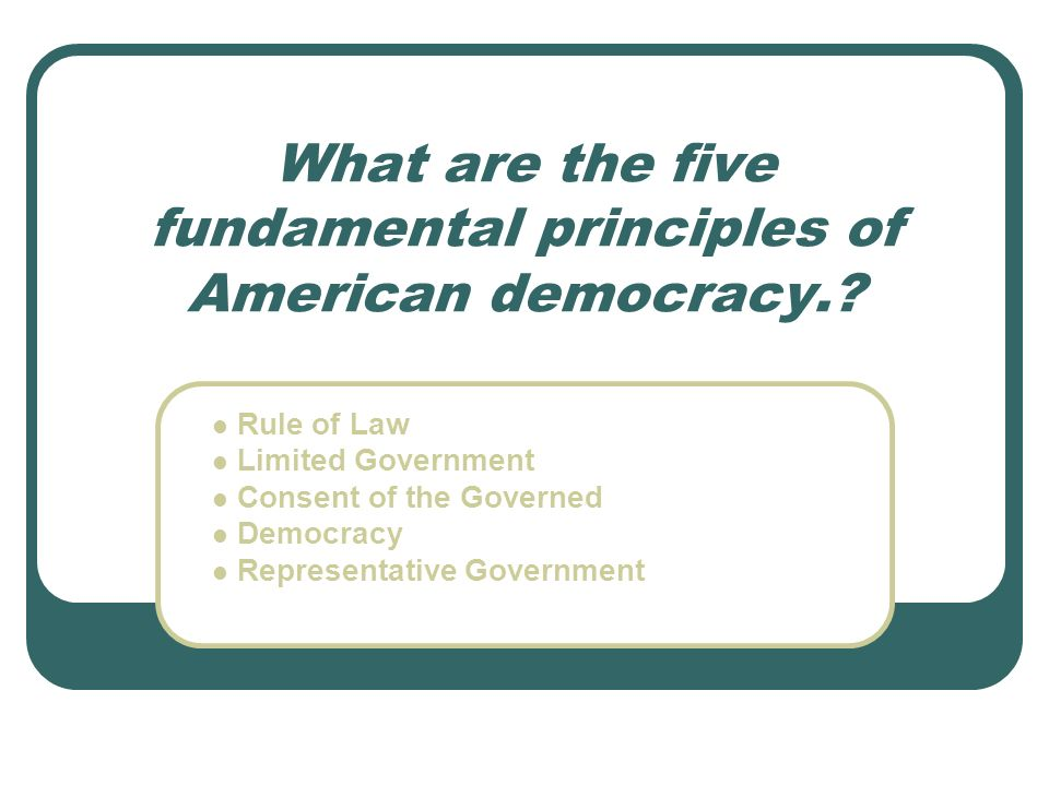 What are the five fundamental principles of American democracy.