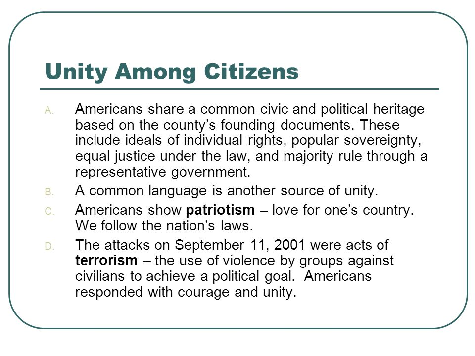 Unity Among Citizens