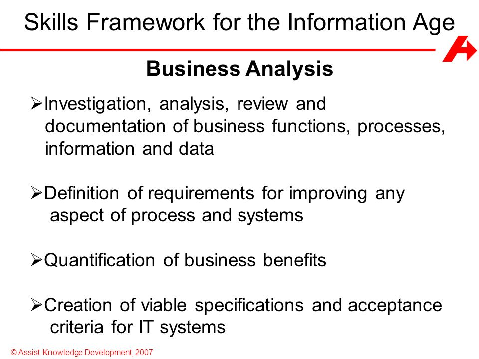 Skills Framework for the Information Age (SFIA)