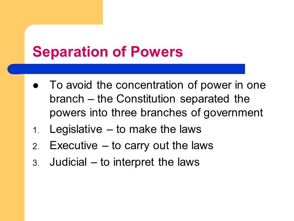 a history of the separation of powers in the united states government The preamble does not confer power, but its first words, we the people of the united states, describe the source of the powers conferred by the rest of the constitution and have been used by the advocates of a strong union arguing against the proponents of states' rights the preamble also states the purpose of the document.