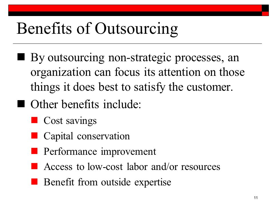 "the benefits of outsourcing for an organizations it activities The challenges and benefits of outsourced learning  ""there's tremendous  activity out there, and there are a lot of very  starr said the decentralized nature  of training in most organizations can present its own problems."