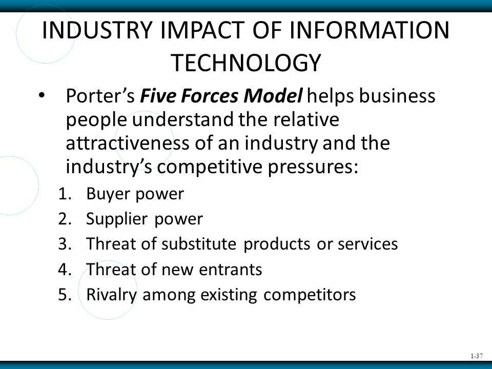 five forces in gaining competitive advantage information technology essay The analysis involves michael porter's five forces, which looks at the five forces involved in gaining a competitive edge in a market place, through environmental scanning, first mover advantages and a focused differentiation strategy in line with the business goals and ideals.