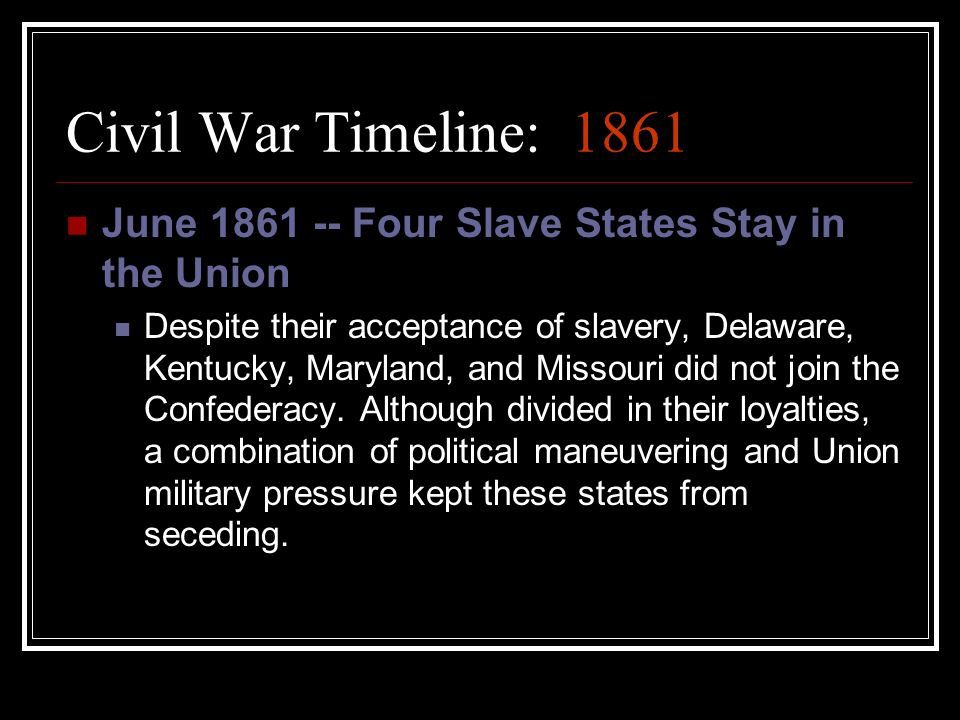how did the military stalemate of 1861 In order to understand the military strategies lincoln and his top advisors simply did not believe that the southerners were genuinely 1861: stalemate in the.