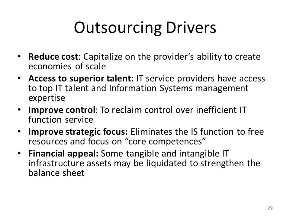 Examples of Outsourcing Functions of EMBs