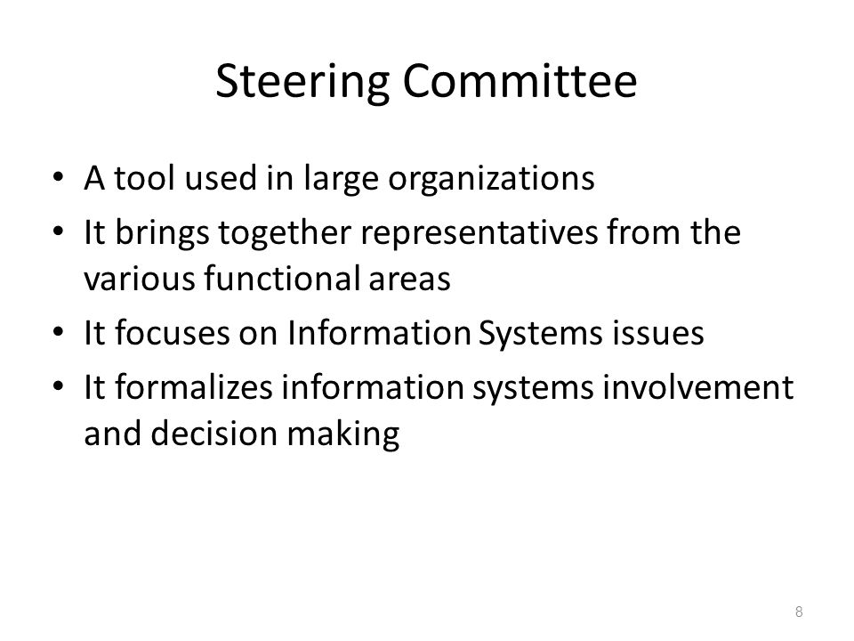 advantages and disadvantages of a steering committee versus a ceo making decision Making the right move: 5 questions to ask and a steering committee early helps promote buy-in exhibits fairly equal advantages and disadvantages.