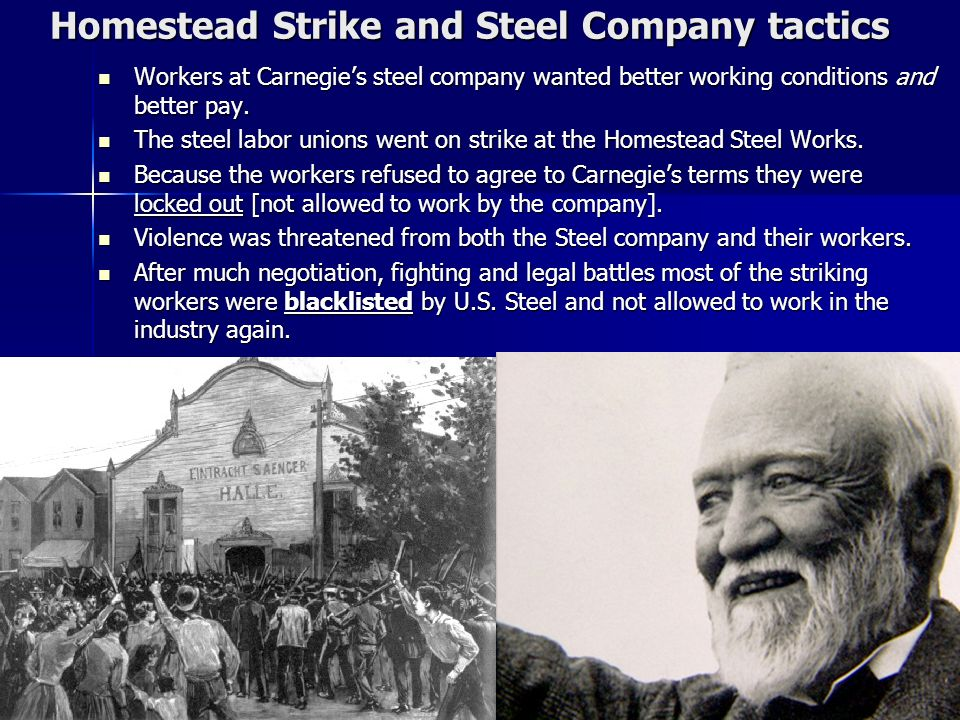 Homestead Strike and Steel Company tactics
