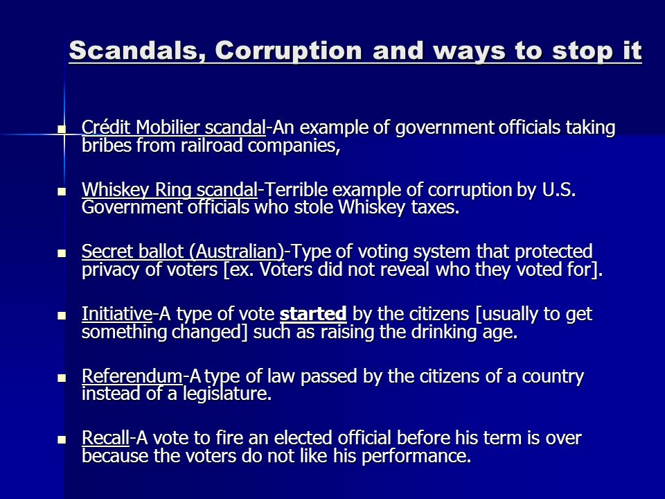 Scandals, Corruption and ways to stop it