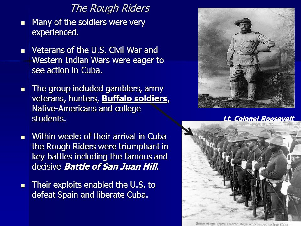 Lt. Colonel Roosevelt The Rough Riders