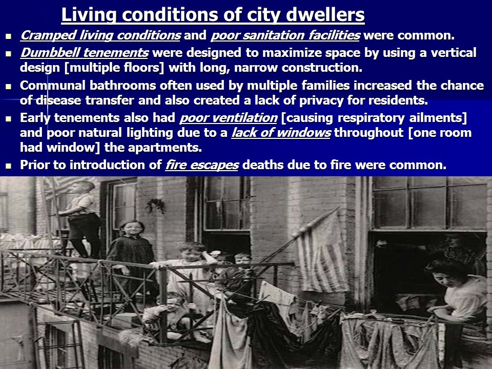 Living conditions of city dwellers