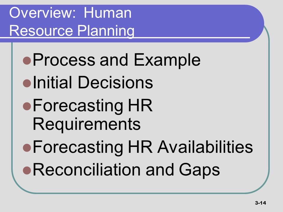 Overview: Human Resource Planning