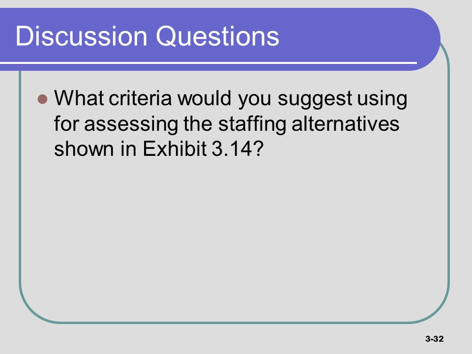 Discussion Questions What criteria would you suggest using for assessing the staffing alternatives shown in Exhibit 3.14