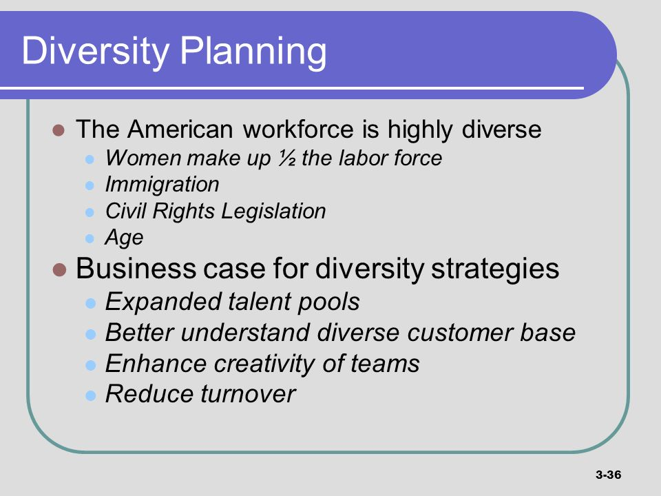 Diversity Planning Business case for diversity strategies