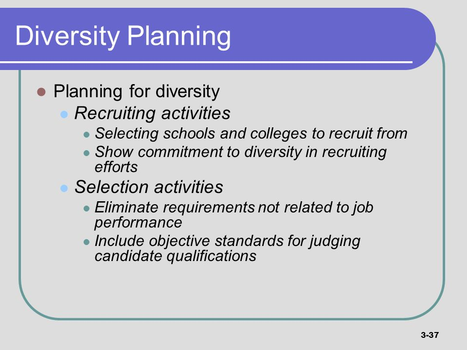 Diversity Planning Planning for diversity Recruiting activities