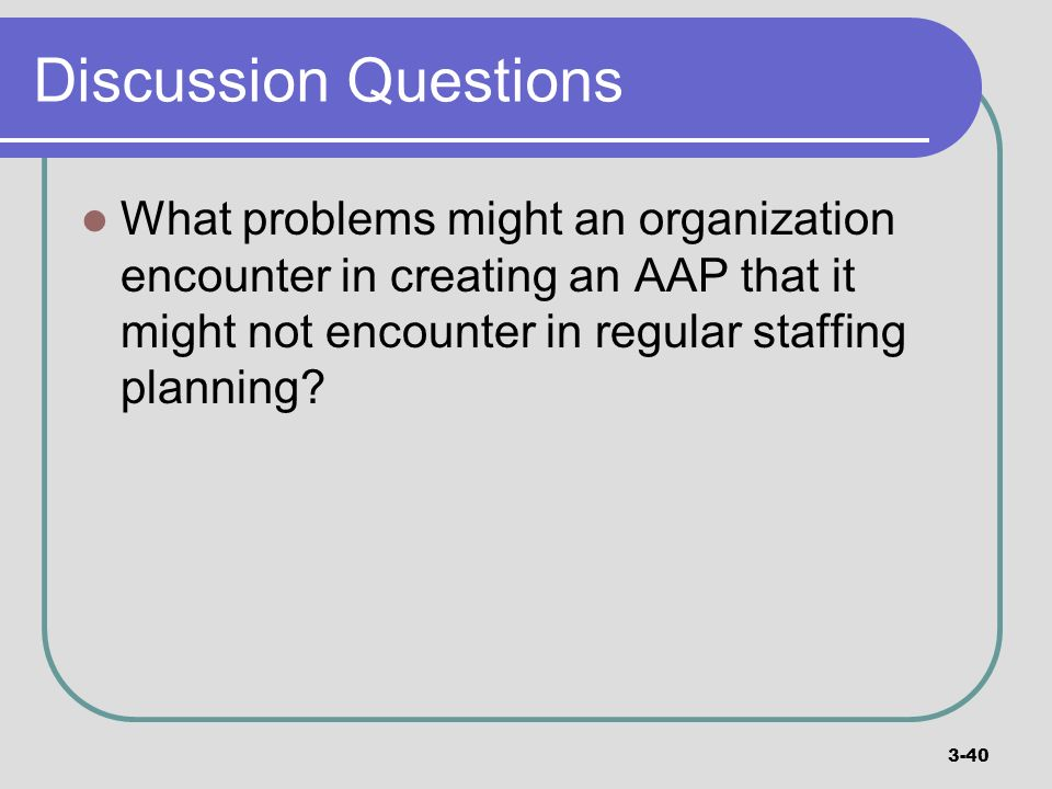 Discussion Questions What problems might an organization encounter in creating an AAP that it might not encounter in regular staffing planning