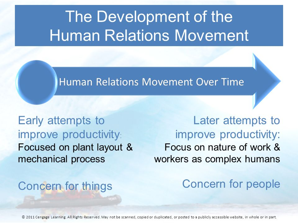 limitation of human relations movement The human relations movement in organizational behavior focuses instead on the person as an individual and analyzes what motivates and cultivates their achievement in a work setting.