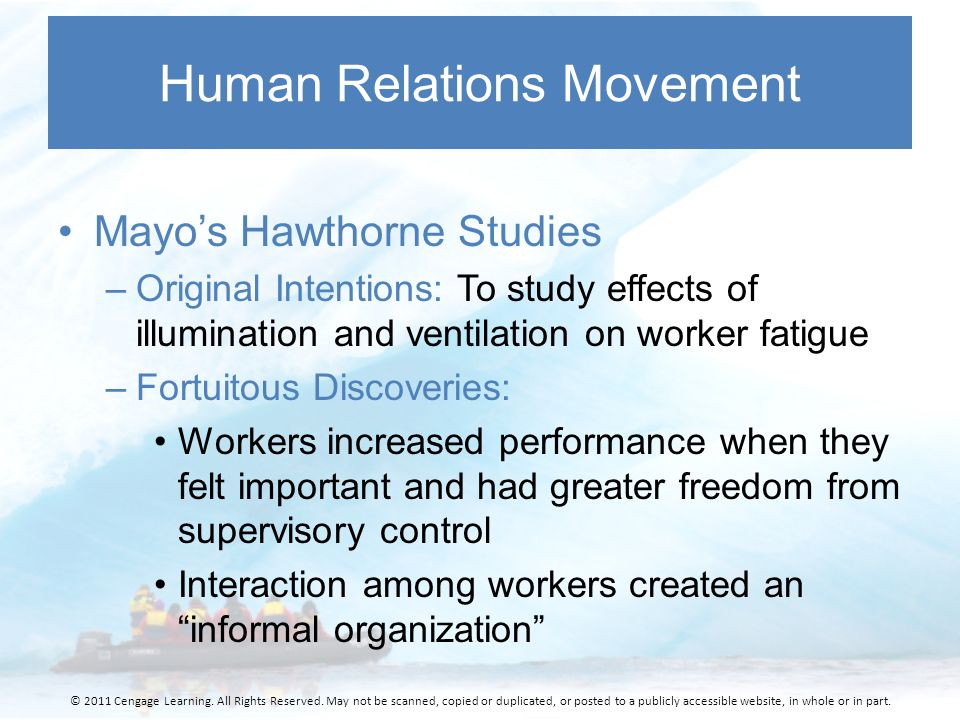 introduction of human relations movement For their subordinates, managers prefer a human relations approach, aimed at  improving morale and reducing resistance to formal authority for themselves.