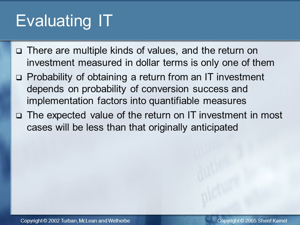 return on investment in information technology 2018-7-14  there is an abundance of information about technology,  gartner for technology investors helps investment  and its readiness to deliver real return.