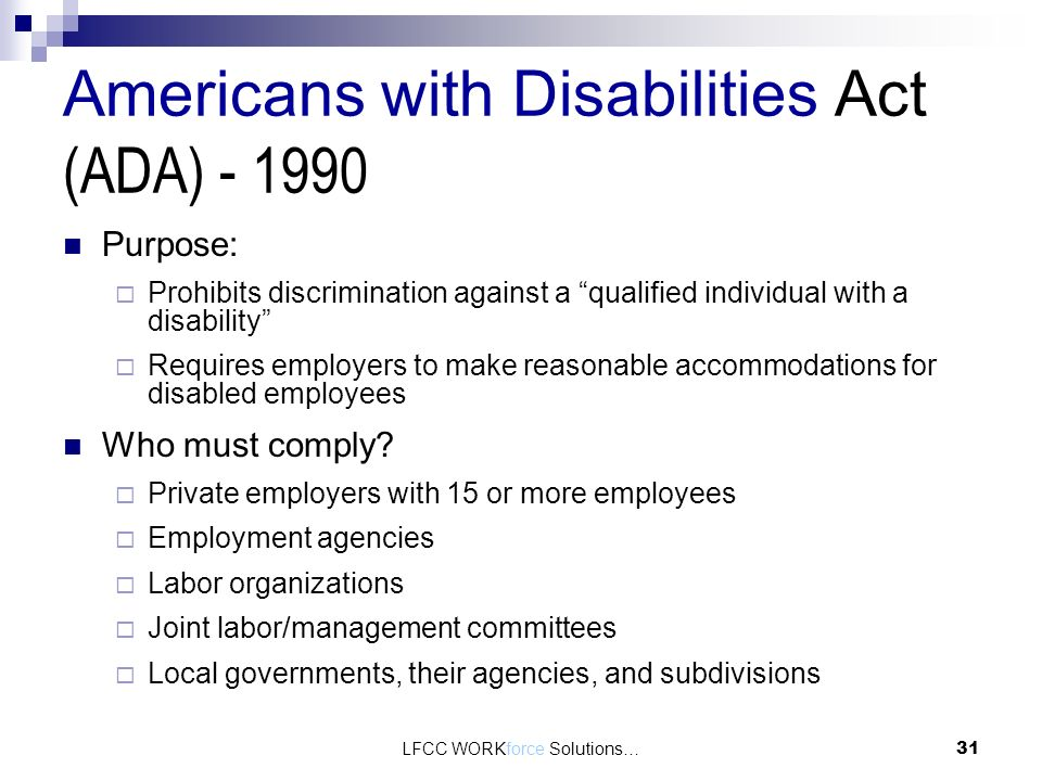 The characteristics of employees that are covered by the americans with disabilities act