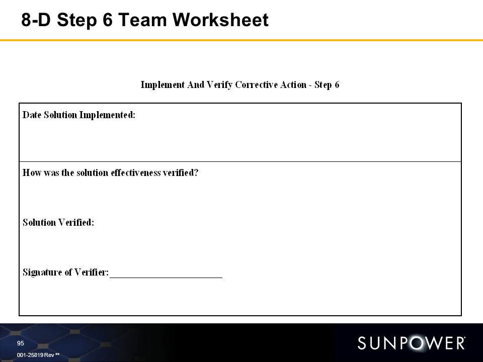 An essential part of Continual Improvement and Problem Prevention – Step 8 Worksheet