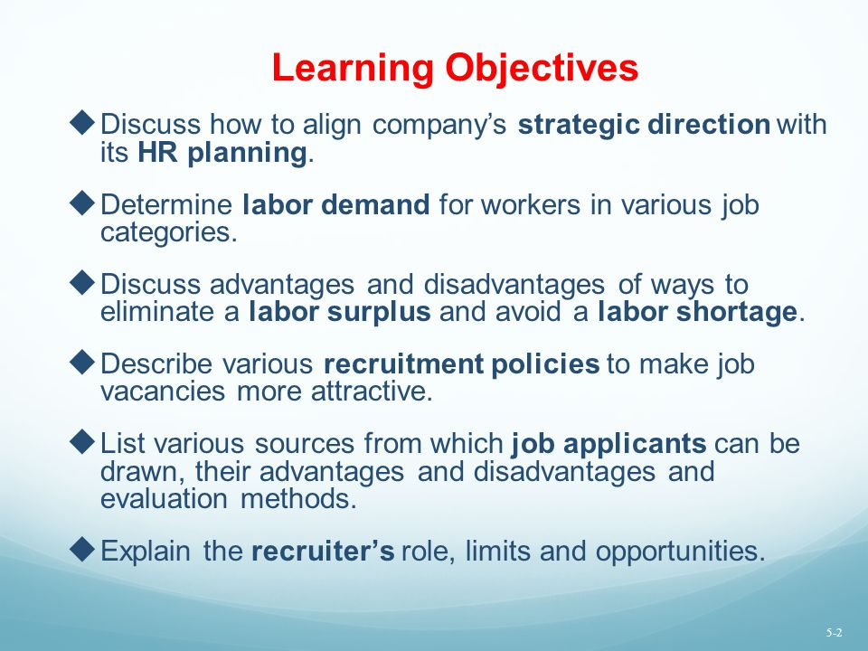 Learning Objectives Discuss how to align company's strategic direction with its HR planning.