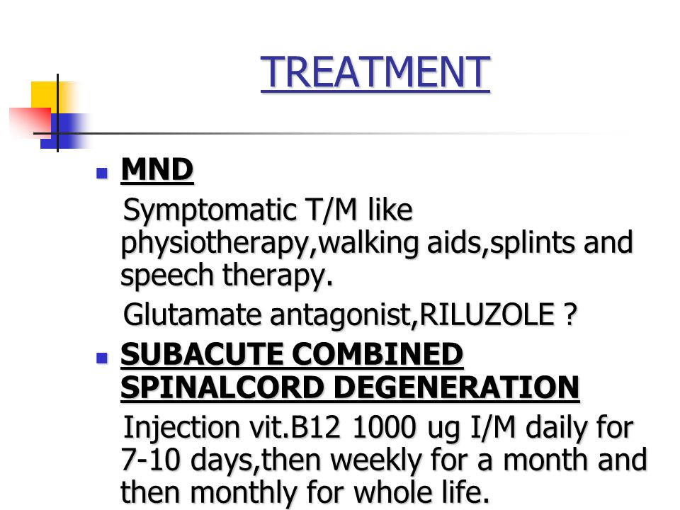 TREATMENT MND. Symptomatic T/M like physiotherapy,walking aids,splints and speech therapy. Glutamate antagonist,RILUZOLE