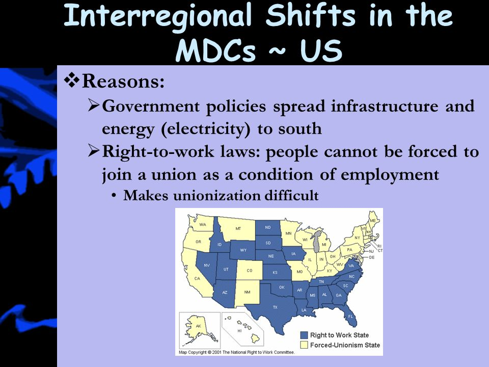 Interregional Shifts In The Mdcs Us