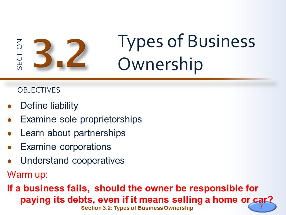 type of business ownership sole proprietorship In this type of entity, there's no legal distinction between the owner and the business — which means 1) the owner is entitled to all the profits of the business, and 2) he/she is also responsible for the losses, liabilities, and debts the business will incur a sole proprietorship is the most common type of business and the easiest to set up.