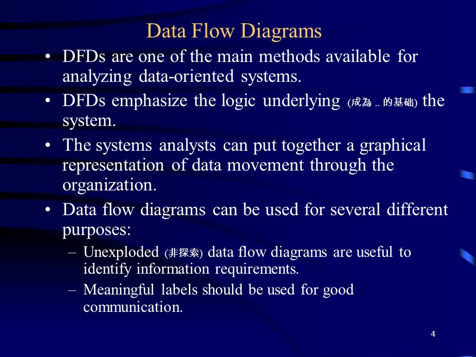 analyzing systems using data flow diagrams The diagram on the right focuses too much on system components, includes unnecessary information, and does little to explain how data moves through the system, which protocols are in use, or the boundaries of the system to be assessed.