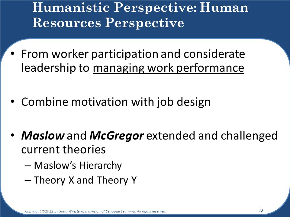 Humanistic Perspective: Human Resources Perspective