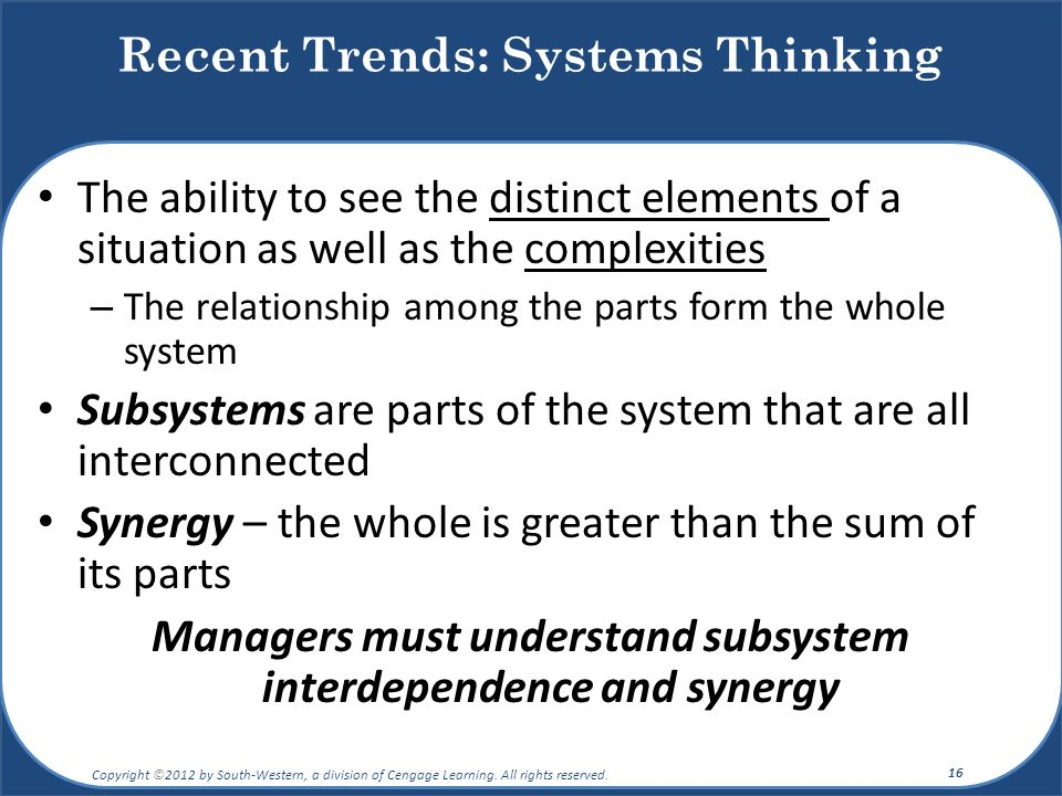 Recent Trends: Systems Thinking