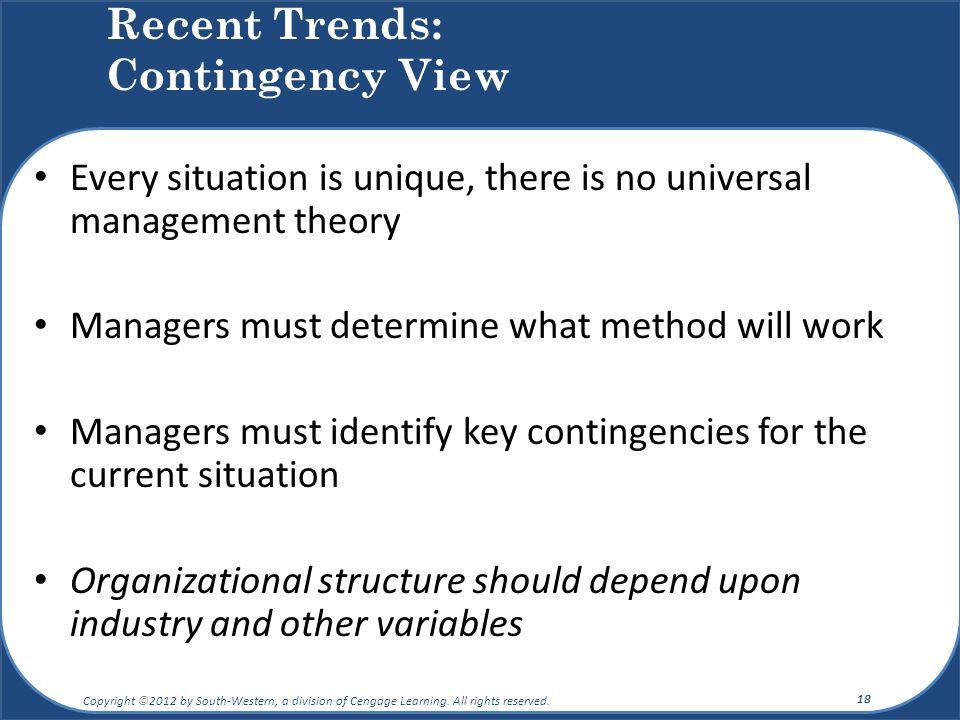 Recent Trends: Contingency View