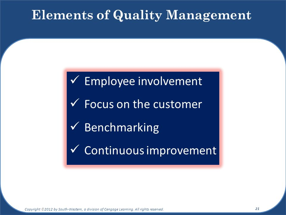Elements of Quality Management