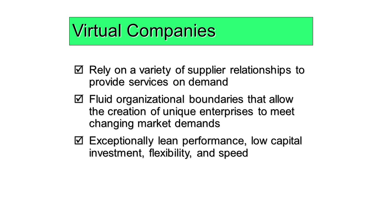 whether a keiretsu network a virtual company a vertical integration This first revolution was based on the integration of mass production and mass  distribution the internet and flexible manufacturing are the technologies driving  the second manufacturing  the virtual hand: the napsterization of the supply  chain  these are companies that if they were pushed and cajoled to think  about.