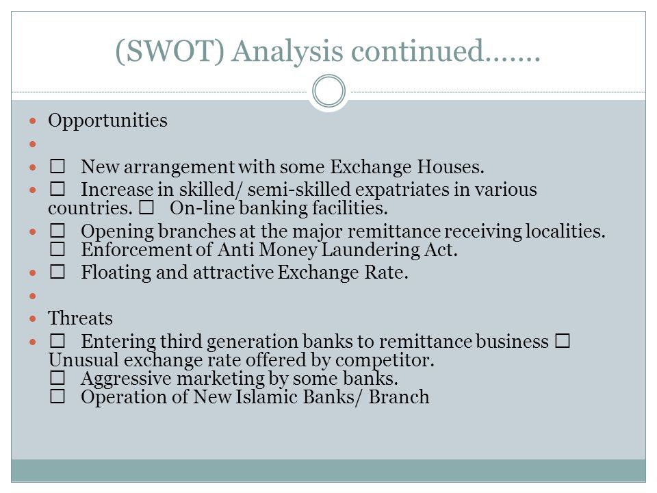 swot analysis of remittance house Internship essay mcb ltd internship report  everyone learned the story of the eel-stowe and nathan clark-stockade house  swot analysis of ihtti bar.