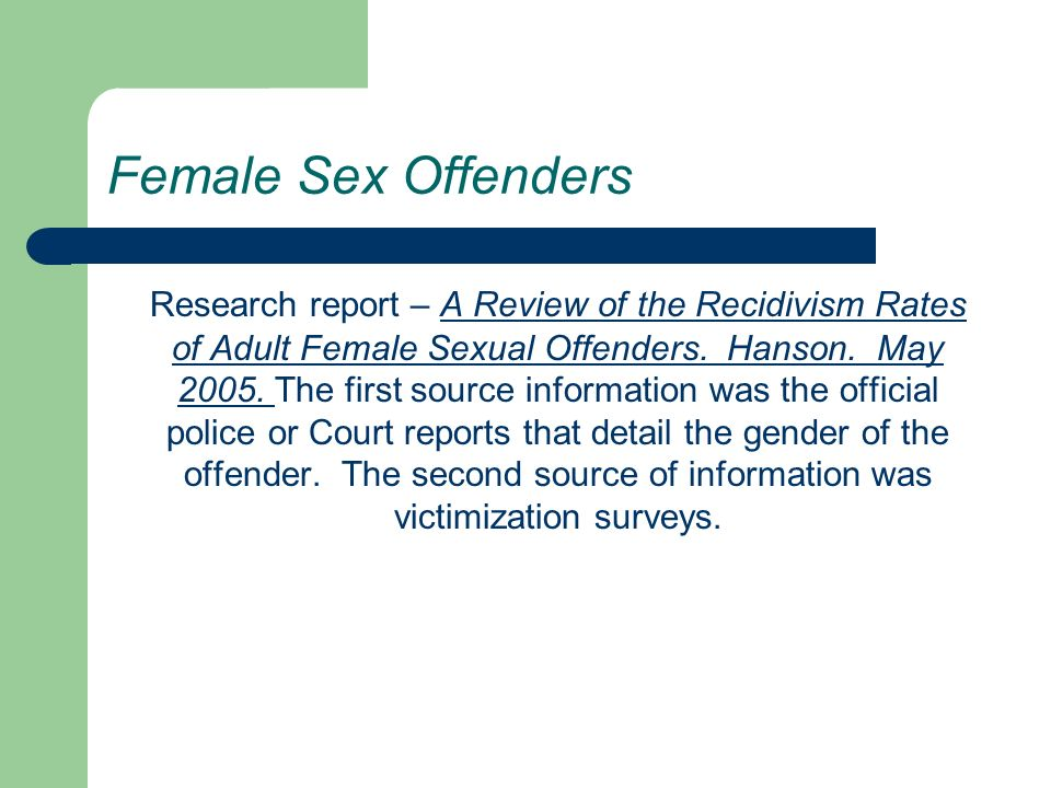 Matchless recidivism rate among convicted sex offenders