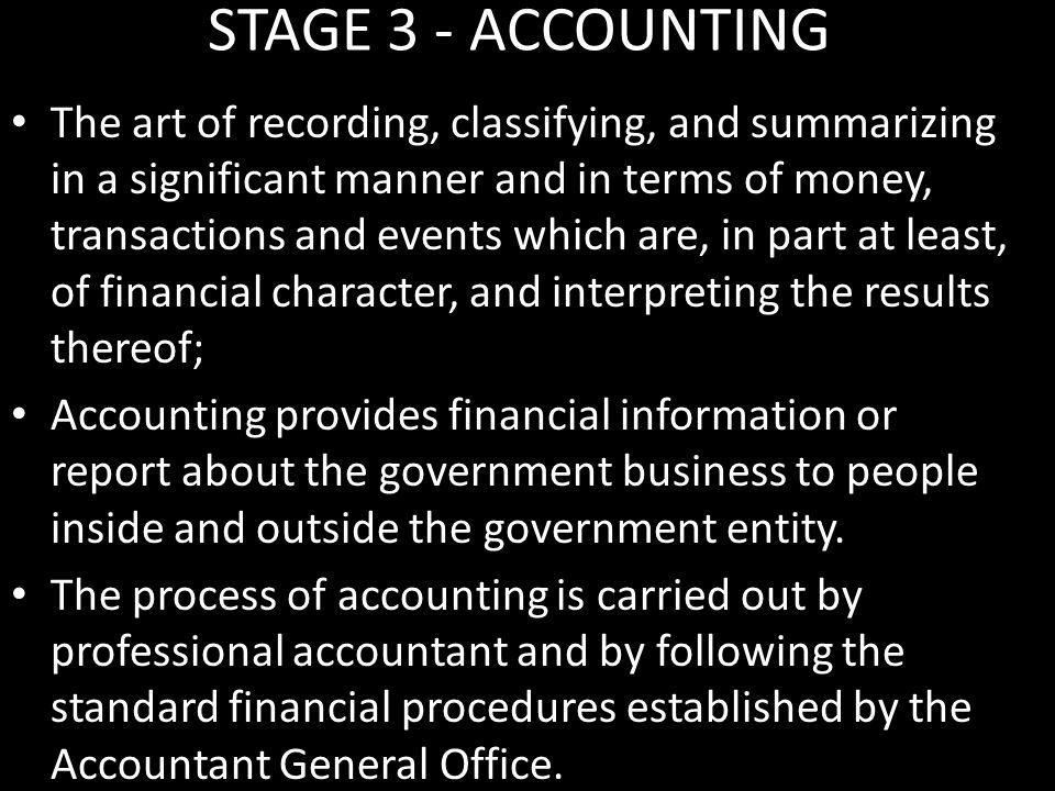 STAGE 3 - ACCOUNTING