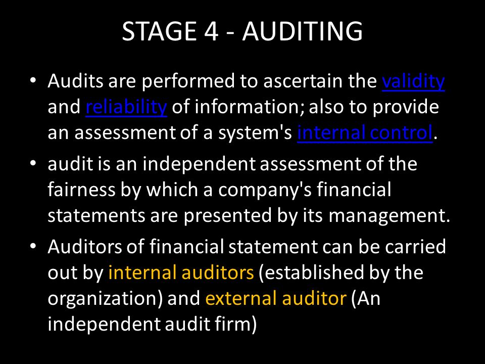 STAGE 4 - AUDITING