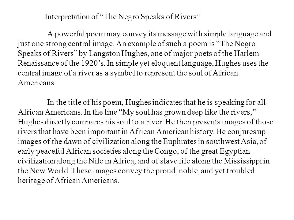 """interpretation of """"the negro speaks of Technical analysis of the negro speaks of rivers literary devices and the technique of langston hughes."""