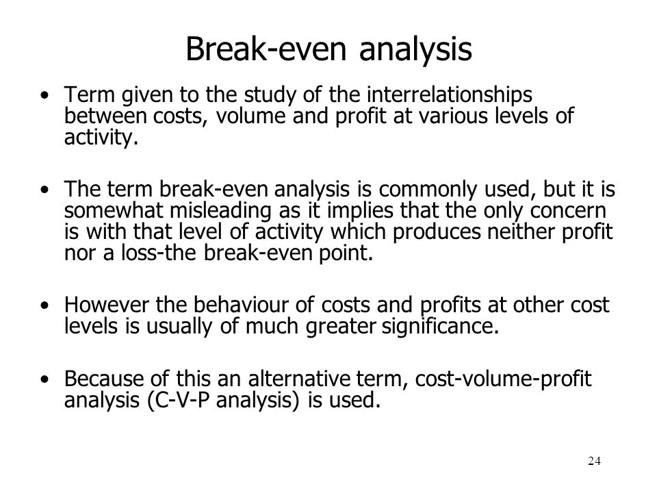 cvp and break even analysis paper and presentation