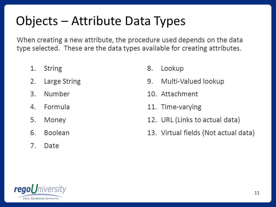 Objects – Attribute Data Types