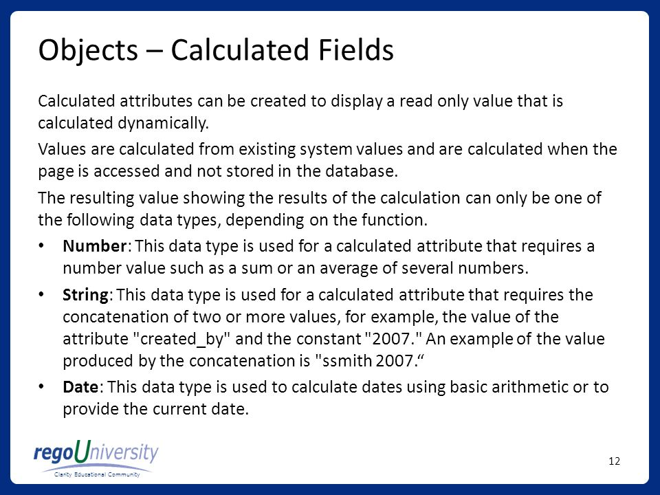 Objects – Calculated Fields