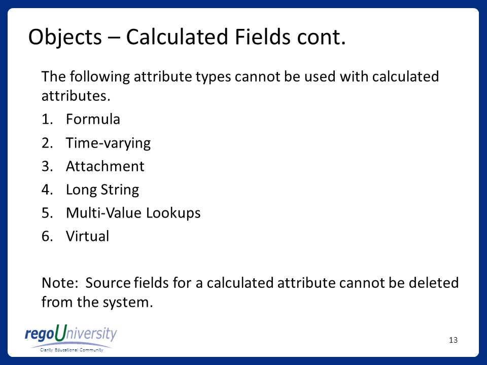 Objects – Calculated Fields cont.